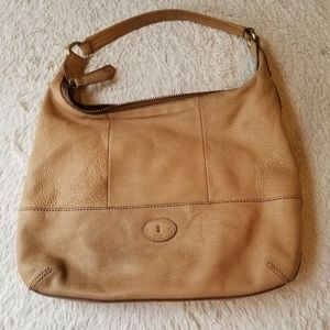 Fossil Leather Front Pockets Hobo Bag Purse